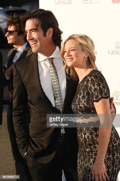 TV personality Carter Oosterhouse and actress Amy Smart arrive at the 27th Annual EMA Awards at Barker Hangar on September 23 2017 in Santa Monica...