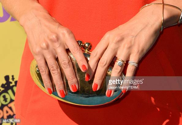 TV personality Cat Deeley jewelry detail attends the Teen Choice Awards 2015 at the USC Galen Center on August 16 2015 in Los Angeles California