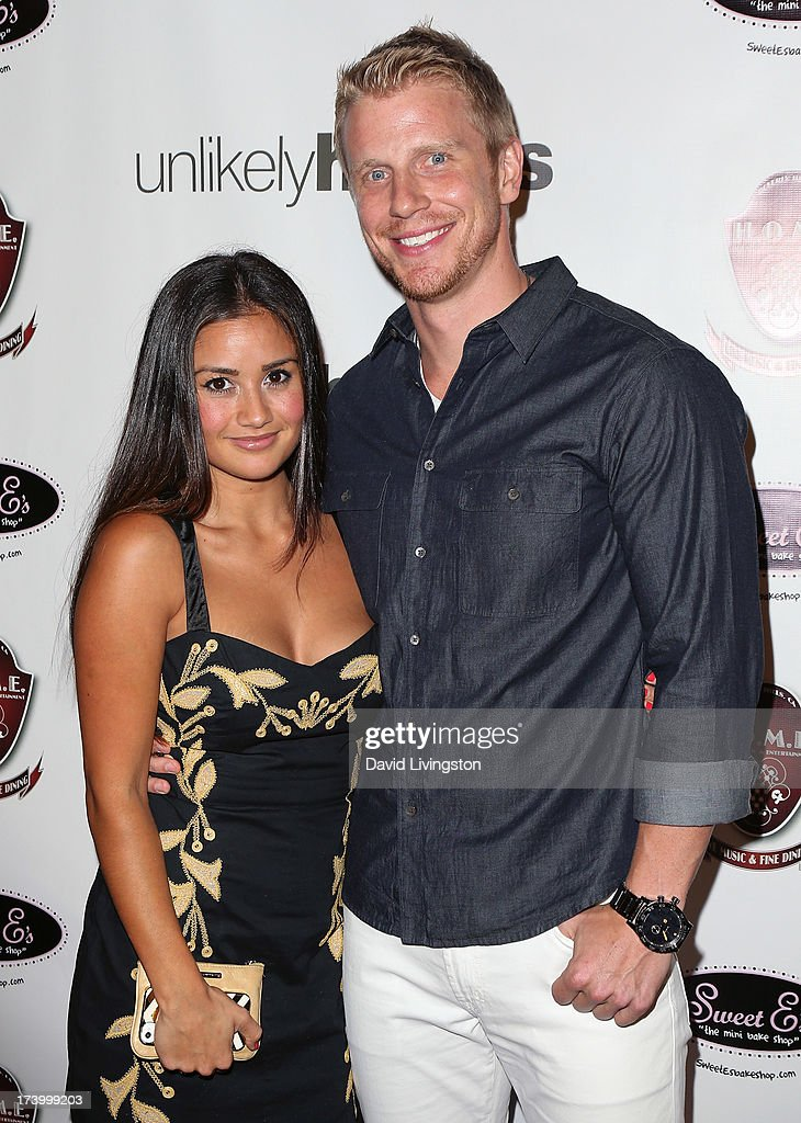 TV personality <a gi-track='captionPersonalityLinkClicked' href=/galleries/search?phrase=Catherine+Giudici&family=editorial&specificpeople=10551820 ng-click='$event.stopPropagation()'>Catherine Giudici</a> (L) and Former Major League Baseball player <a gi-track='captionPersonalityLinkClicked' href=/galleries/search?phrase=Sean+Lowe+-+Reality+Star&family=editorial&specificpeople=11003550 ng-click='$event.stopPropagation()'>Sean Lowe</a> attend the Chelsie Hightower and Peta Murgatroyd Charity Birthday Party on July 18, 2013 in Los Angeles, California.