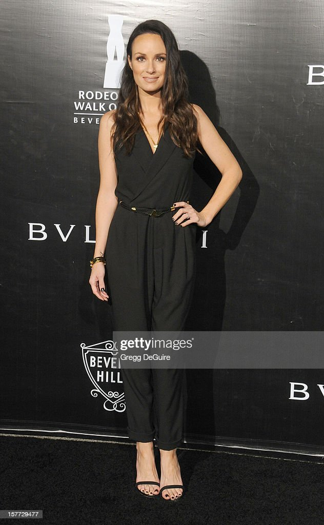TV personality Catt Sadler arrives at the Rodeo Drive Walk of Style honoring Bvlgari on December 5, 2012 in Beverly Hills, California.