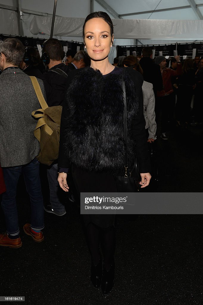 TV personality Catt Sadler poses backstage at the Michael Kors Fall 2013 fashion show during Mercedes-Benz Fashion Week at The Theatre at Lincoln Center on February 13, 2013 in New York City.
