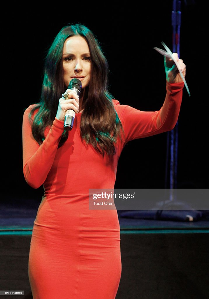 TV personality Catt Sadler speaks on stage during Global Green USA's 10th Annual Pre-Oscar Party at Avalon on February 20, 2013 in Hollywood, California.