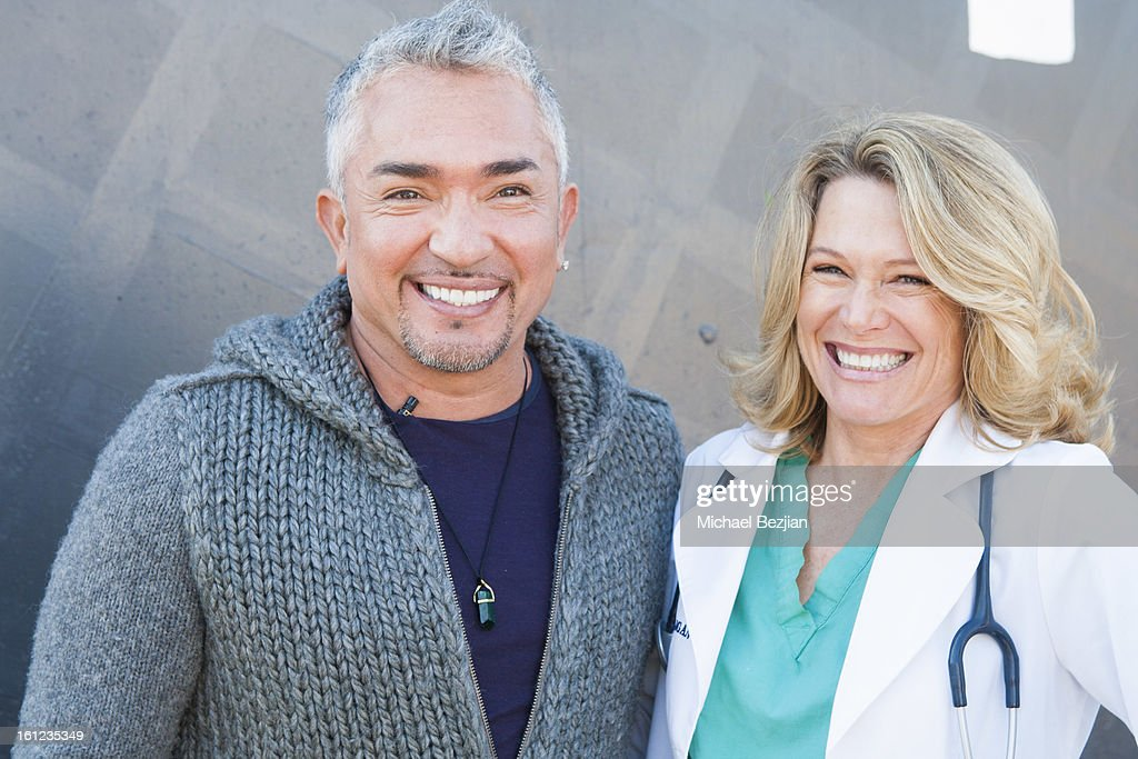 TV personality Cesar Millan and Veterinarian Doc Halligan attend Cesar Millan and Carrie Ann Inaba team up for National Spay and Neuter Month at Salesian Boys and Girls Club of Los Angeles on February 9, 2013 in Los Angeles, California.