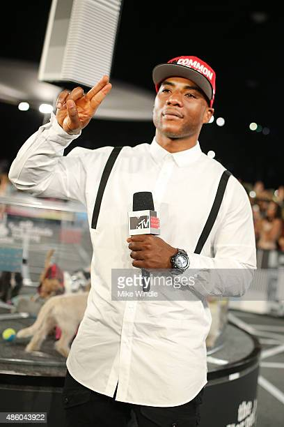 TV personality Charlamagne Tha God poses with adoptable puppies from The Shelter Pet Project during the 2015 MTV Video Music Awards at Microsoft...