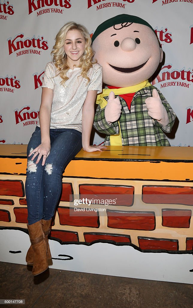 TV personality Charlie Lukasiak and Charlie Brown attend Knott's Berry Farm's Countdown To Christmas And Snoopy's Merriest Tree Lighting at Knott's...