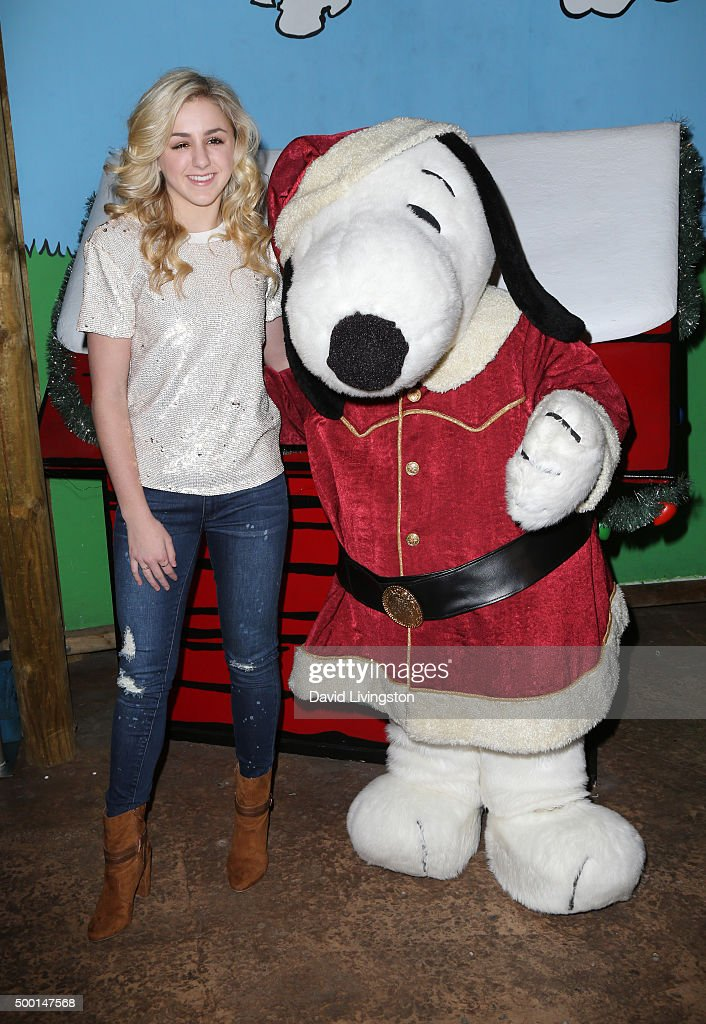 TV personality Charlie Lukasiak and Snoopy attend Knott's Berry Farm's Countdown To Christmas And Snoopy's Merriest Tree Lighting at Knott's Berry...