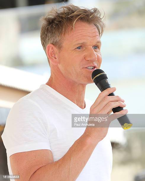 Personality / Chef Gordon Ramsay attempts the world's largest cupcake for the Guinness World Record at The Grove on September 25 2013 in Los Angeles...