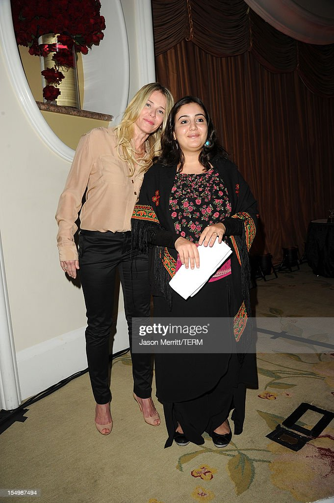 TV personality <a gi-track='captionPersonalityLinkClicked' href=/galleries/search?phrase=Chelsea+Handler&family=editorial&specificpeople=599162 ng-click='$event.stopPropagation()'>Chelsea Handler</a> and honoree Asmaa al-Ghoul attend the 2012 Courage in Journalism Awards hosted by the International Women's Media Foundation held at the Beverly Hills Hotel on October 29, 2012 in Beverly Hills, California.
