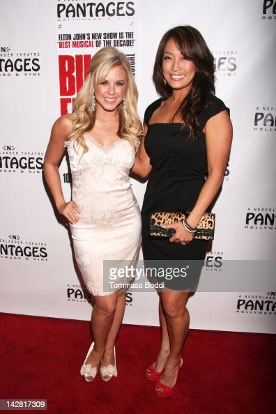 TV personality Chelsie Hightower and Carrie Ann Inaba attend the 'Billy Elliot' Los Angeles opening night held at the Pantages Theatre on April 12...