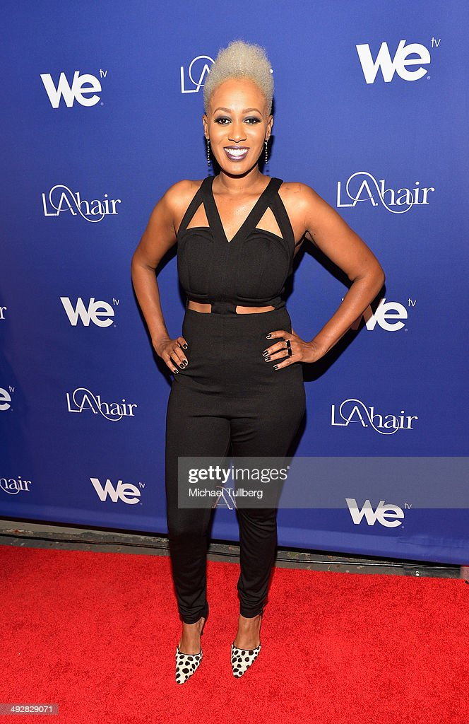 TV personality China Upshaw attends the premiere event for Season 3 of LA tv's 'L.A. Hair' show at Kimble Hair Studio and Extension Bar on May 21, 2014 in Los Angeles, California.