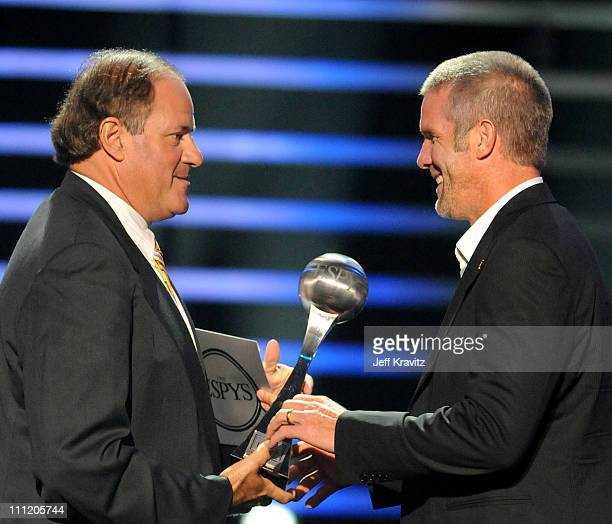 ESPN personality Chris Berman and NHL player Brett Favre as he accepts the 'Best RecordBreaking Performance' onstage during the 2008 ESPY Awards held...