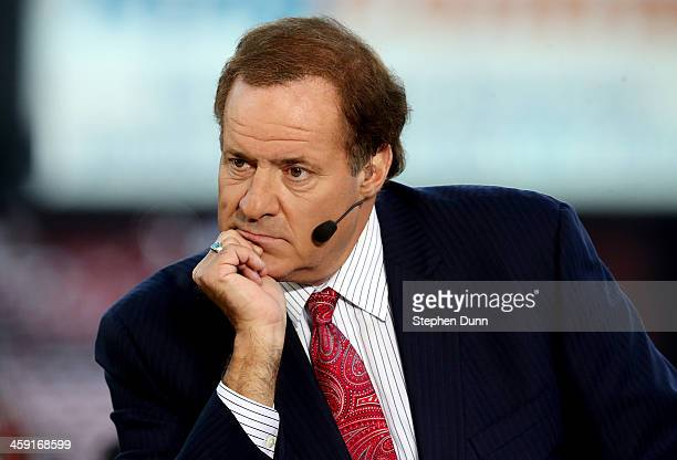 ESPN personality Chris Berman looks on before the last regular season game played at Candlestick Park between the San Francisco 49ers and the Atlanta...