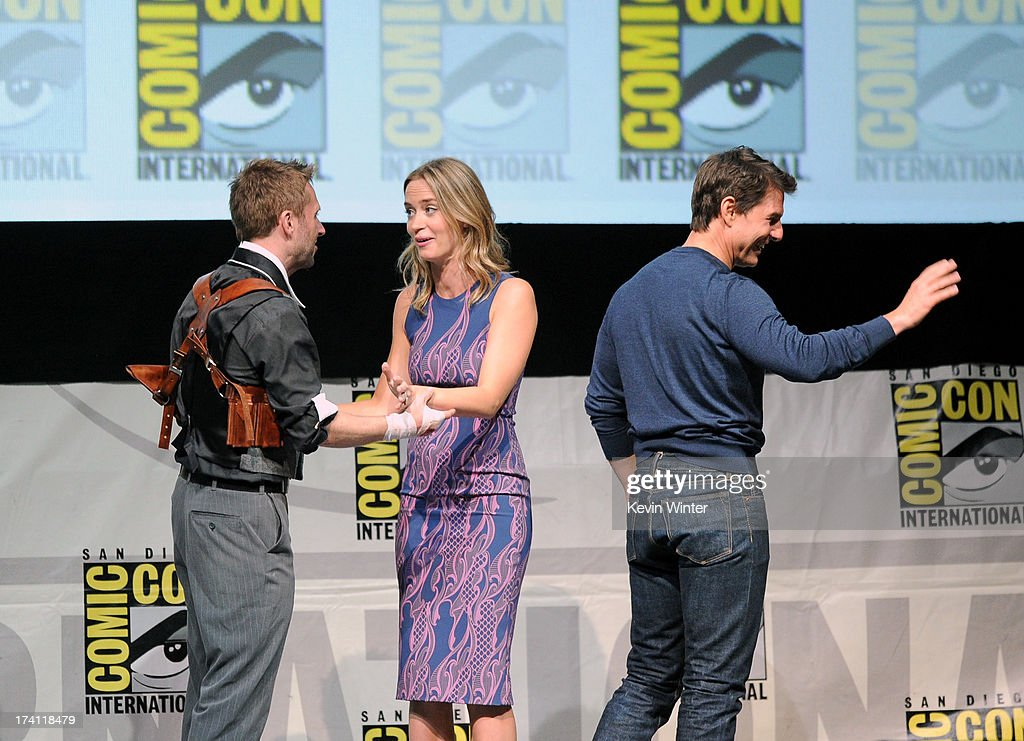 TV personality Chris Hardwick, actress Emily Blunt and actor Tom Cruise speak onstage at the Warner Bros. and Legendary Pictures preview during Comic-Con International 2013 at San Diego Convention Center on July 20, 2013 in San Diego, California.