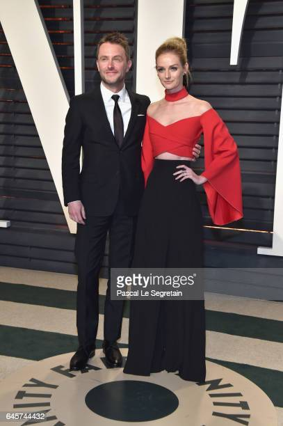 TV personality Chris Hardwick and actormodel Lydia Hearst attend the 2017 Vanity Fair Oscar Party hosted by Graydon Carter at Wallis Annenberg Center...