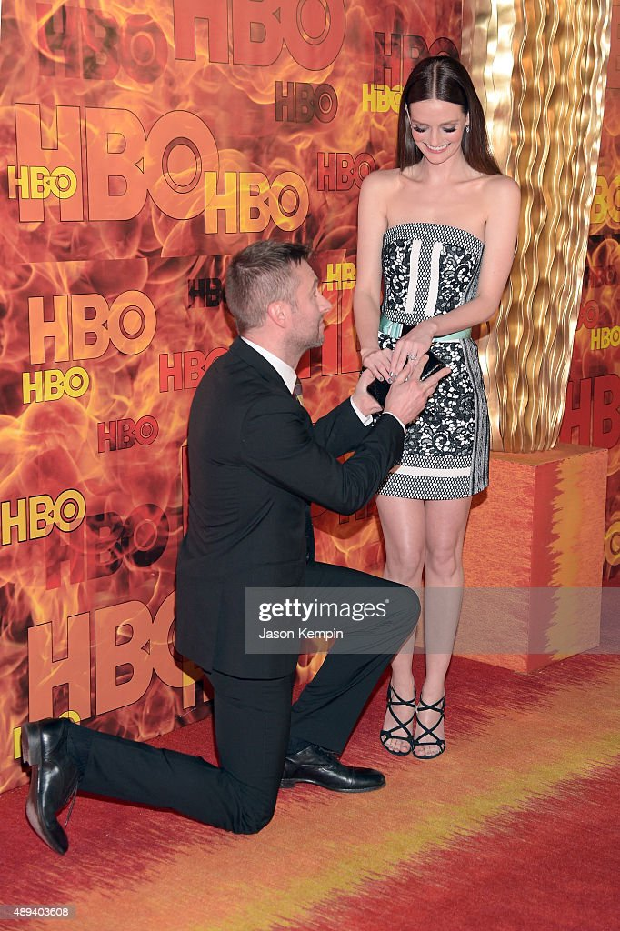 TV personality Chris Hardwick and actress Lydia Hearst attend HBO's Official 2015 Emmy After Party at The Plaza at the Pacific Design Center on...