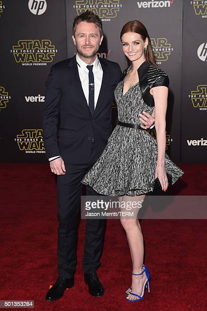 TV personality Chris Hardwick and actress Lydia Hearst attend Premiere of Walt Disney Pictures and Lucasfilm's 'Star Wars The Force Awakens' on...