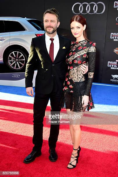 TV personality Chris Hardwick and actress Lydia Hearst attends the premiere of Marvel's 'Captain America Civil War' at Dolby Theatre on April 12 2016...