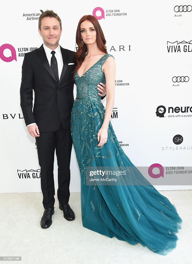 TV personality Chris Hardwick and model Lydia Hearst attend the 24th Annual Elton John AIDS Foundation's Oscar Viewing Party at The City of West...