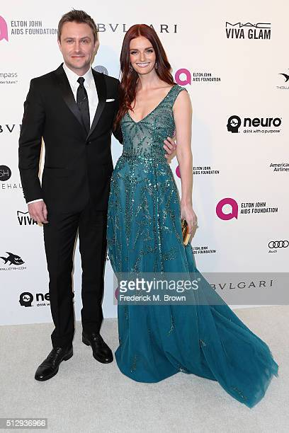 TV personality Chris Hardwick and model Lydia Hearst attend the 24th Annual Elton John AIDS Foundation's Oscar Viewing Party on February 28 2016 in...