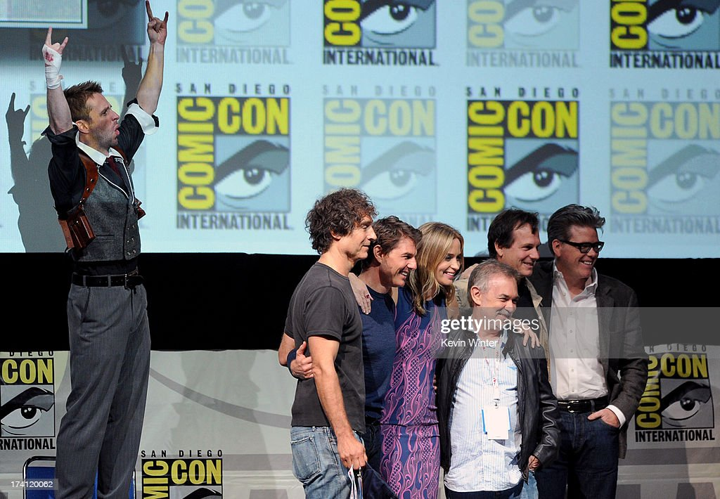 TV personality Chris Hardwick, director Doug Liman, actor Tom Cruise, actress Emily Blunt, producer Erwin Stoff, actor Bill Paxton and screenwriter Christopher McQuarrie speak onstage at the Warner Bros. and Legendary Pictures preview of 'Edge of Tomorrow' during Comic-Con International 2013 at San Diego Convention Center on July 20, 2013 in San Diego, California.