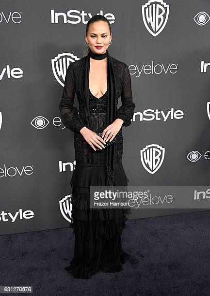 TV personality Chrissy Teigen attends the 18th Annual PostGolden Globes Party hosted by Warner Bros Pictures and InStyle at The Beverly Hilton Hotel...