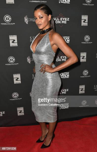 Personality Claudia Jordan attends the All Eyez on Me ABFF Screening at Regal South Beach Cinema on June 17 2017 in Miami Florida