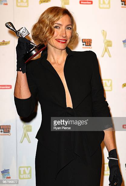 TV personality Claudia Karvan poses with the Logie award for Most Outstanding Actress in the 52nd TV Week Logie Awards room at Crown Casino on May 2...