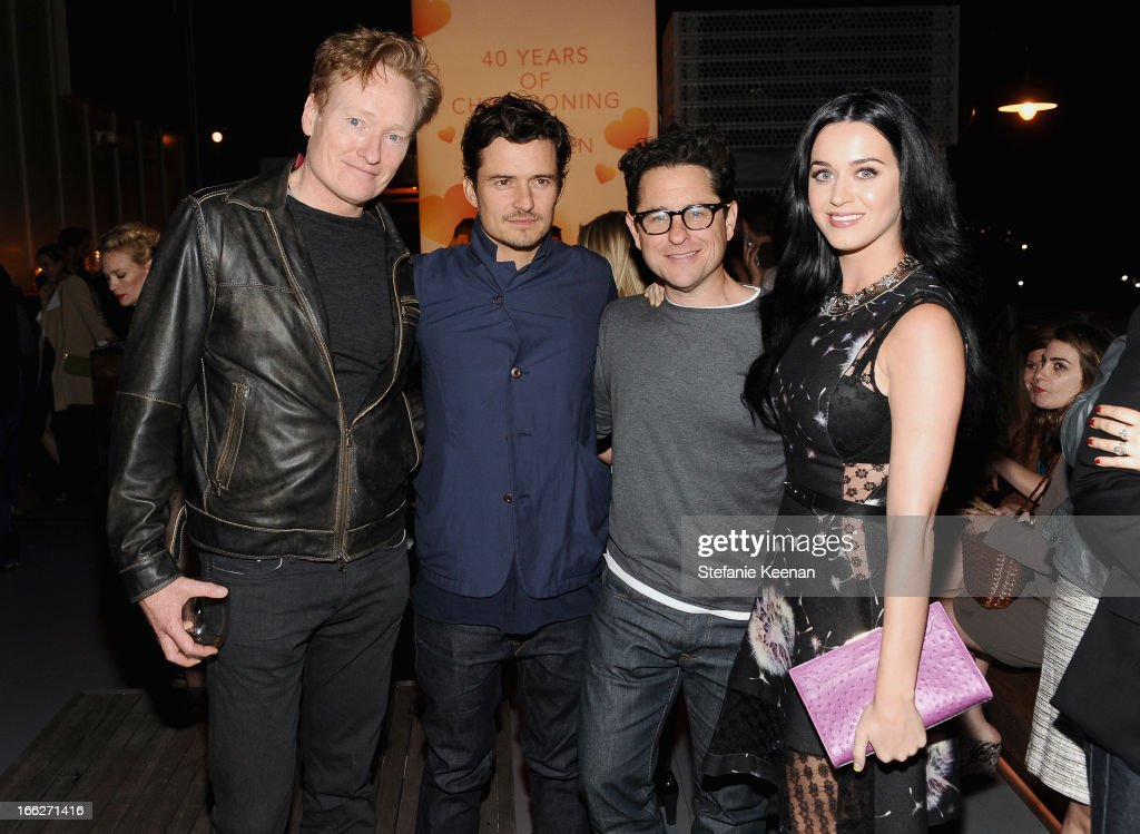 TV personality Conan O'Brien actor Orlando Bloom host JJ Abrams and singer Katy Perry attend Coach's 3rd Annual Evening of Cocktails and Shopping to...