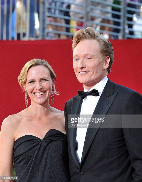 TV personality Conan O'Brien and Elizabeth Ann Powel arrive at the 61st Primetime Emmy Awards held at the Nokia Theatre LA Live on September 20 2009...