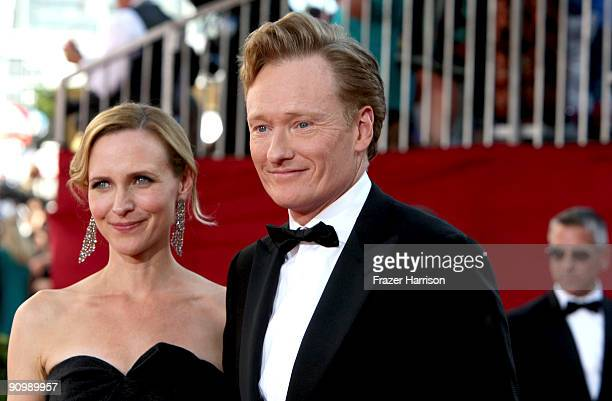 TV personality Conan O'Brien and Elizabeth Ann Powel arrives at the 61st Primetime Emmy Awards held at the Nokia Theatre on September 20 2009 in Los...