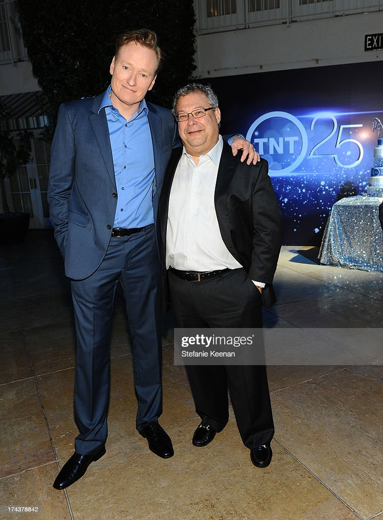 TV personality Conan O'Brien and Steve Koonin, President, Turner Entertainment Networks, attend TNT 25TH Anniversary Party during Turner Broadcasting's 2013 TCA Summer Tour at The Beverly Hilton Hotel on July 24, 2013 in Beverly Hills, California.