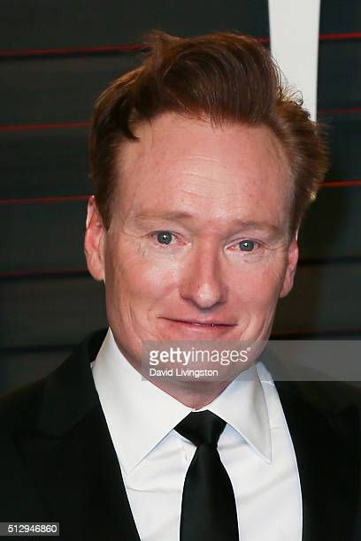 TV personality Conan O'Brien arrives at the 2016 Vanity Fair Oscar Party Hosted by Graydon Carter at the Wallis Annenberg Center for the Performing...