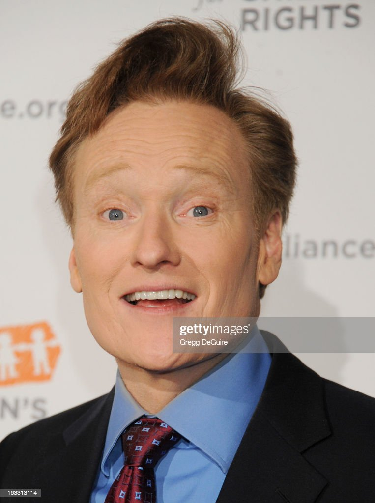 TV personality <a gi-track='captionPersonalityLinkClicked' href=/galleries/search?phrase=Conan+O%27Brien&family=editorial&specificpeople=208095 ng-click='$event.stopPropagation()'>Conan O'Brien</a> arrives at The Alliance for Children's Rights 21st Annual Dinner at The Beverly Hilton Hotel on March 7, 2013 in Beverly Hills, California.