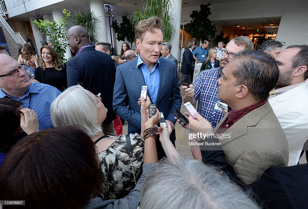 TV personality <a gi-track='captionPersonalityLinkClicked' href=/galleries/search?phrase=Conan+O%27Brien&family=editorial&specificpeople=208095 ng-click='$event.stopPropagation()'>Conan O'Brien</a> attends TNT 25TH Anniversary Party during Turner Broadcasting's 2013 TCA Summer Tour at The Beverly Hilton Hotel on July 24, 2013 in Beverly Hills, California.