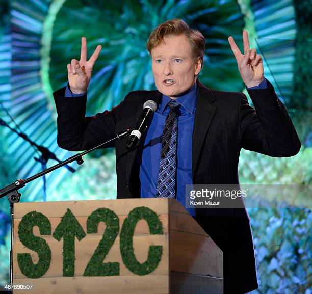 TV personality Conan O'Brien speaks onstage during Hollywood Stands Up To Cancer Event with contributors American Cancer Society and Bristol Myers...