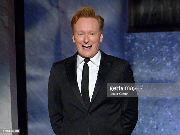 TV personality Conan O'Brien speaks onstage during the 2015 AFI Life Achievement Award Gala Tribute Honoring Steve Martin at the Dolby Theatre on...