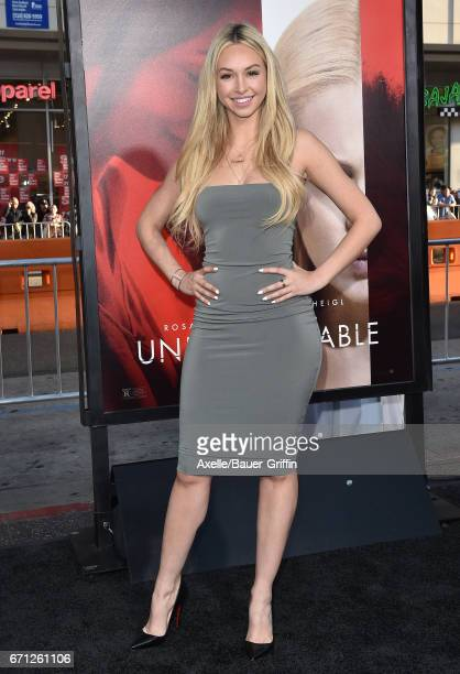 TV personality Corinne Olympios arrives at the premiere of Warner Bros Pictures' 'Unforgettable' at TCL Chinese Theatre on April 18 2017 in Hollywood...