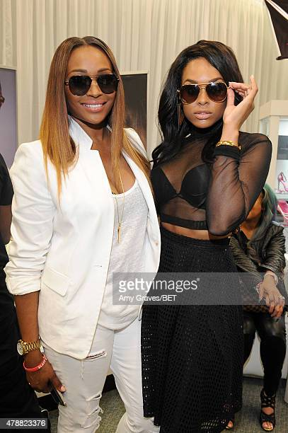 TV personality Cynthia Bailey and actress Demetria McKinney attend the BETX gifting suite during the 2015 BET Experience at the Los Angeles...