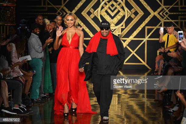 TV personality Cynthia Bailey and designer Kithe Brewster walk the runway at the Kithe Brewster fashion show during MercedesBenz Fashion Week Spring...