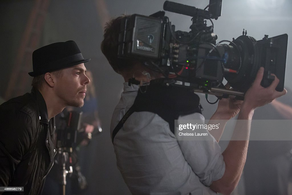 TV personality / dancer <a gi-track='captionPersonalityLinkClicked' href=/galleries/search?phrase=Derek+Hough&family=editorial&specificpeople=4532214 ng-click='$event.stopPropagation()'>Derek Hough</a> is seen directing on the set of the video shoot for Mark Ballas' debut single 'Get My Name' on April 25, 2014 in Los Angeles, California.