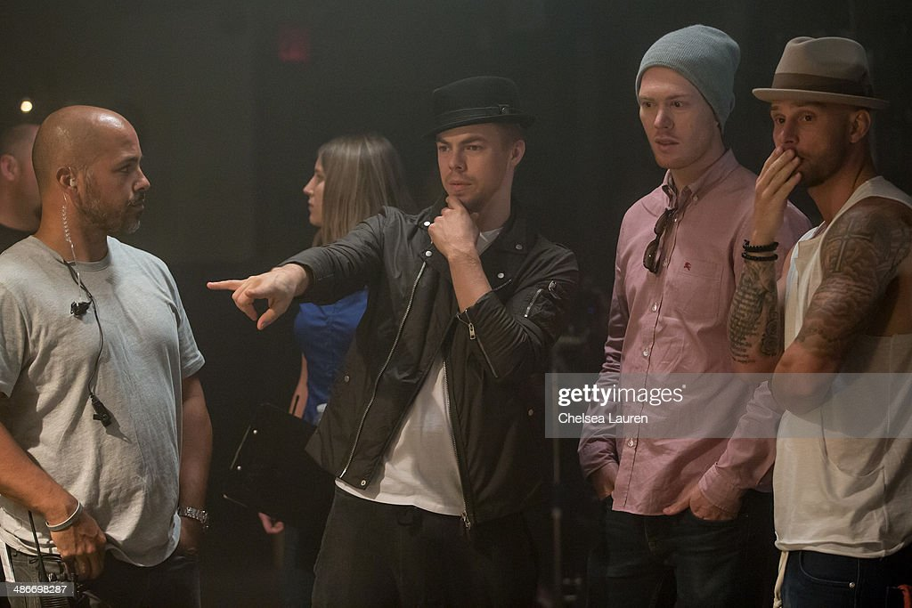 TV personality / dancer Derek Hough is seen directing on the set of the video shoot for Mark Ballas' debut single 'Get My Name' on April 25, 2014 in Los Angeles, California.