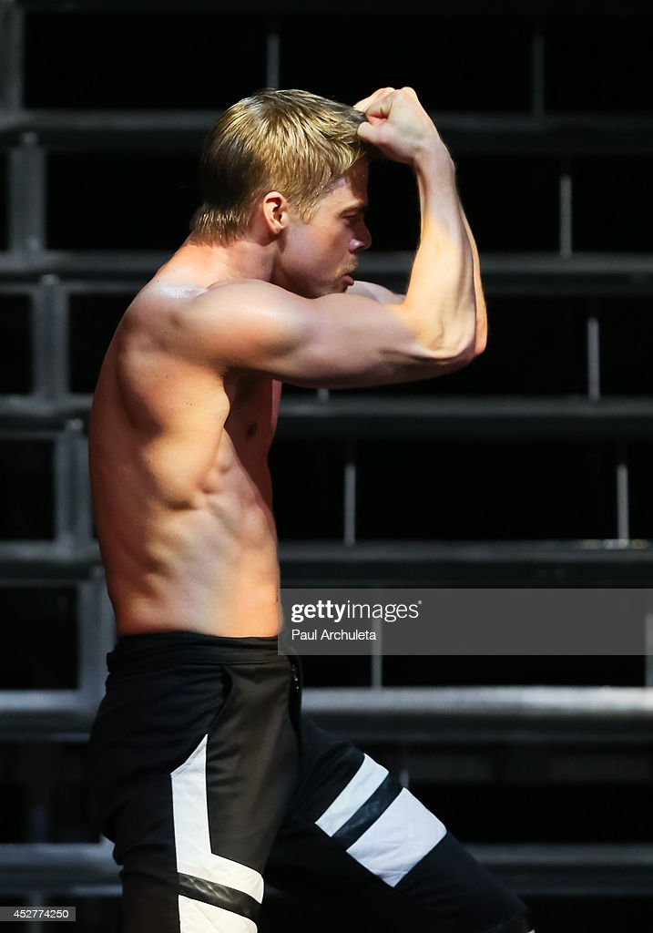 TV Personality / Dancer Derek Hough performs in the 'Move Live On Tour' concert at the Orpheum Theatre on July 26, 2014 in Los Angeles, California.