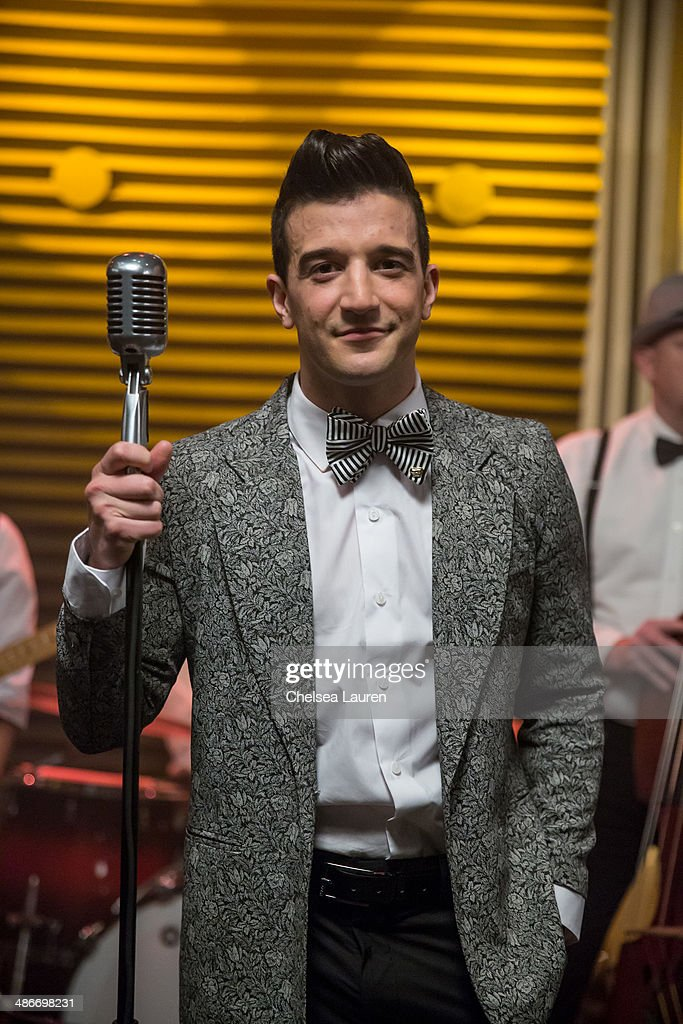 TV personality / dancer <a gi-track='captionPersonalityLinkClicked' href=/galleries/search?phrase=Mark+Ballas&family=editorial&specificpeople=4531129 ng-click='$event.stopPropagation()'>Mark Ballas</a> is seen on the set of the video shoot for his debut single 'Get My Name', directed by Derek Hough on April 25, 2014 in Los Angeles, California.