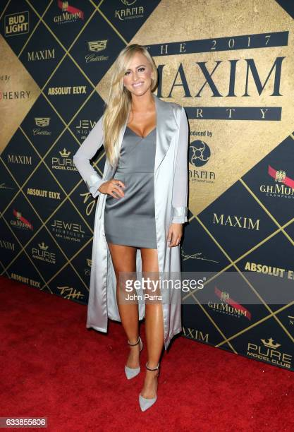TV personality Danielle Moinet arrives at the Maxim Super Bowl Party on February 4 2017 in Houston Texas