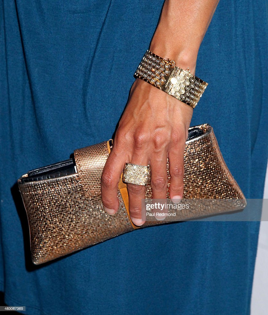 TV personality Daphne Wayans (purse, ring, bracelet detail) attending the 'Jennie Garth: Awake' opening night artist reception at Project Gallery on April 5, 2014 in Hollywood, California.