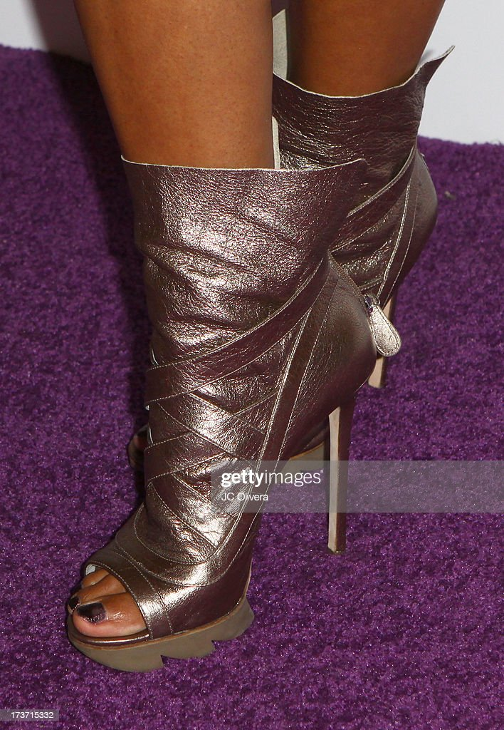 TV personality <a gi-track='captionPersonalityLinkClicked' href=/galleries/search?phrase=Daphne+Wayans&family=editorial&specificpeople=4878193 ng-click='$event.stopPropagation()'>Daphne Wayans</a> attends NUVOtv Network Launch Party (shoes detail) at The London West Hollywood on July 16, 2013 in West Hollywood, California.