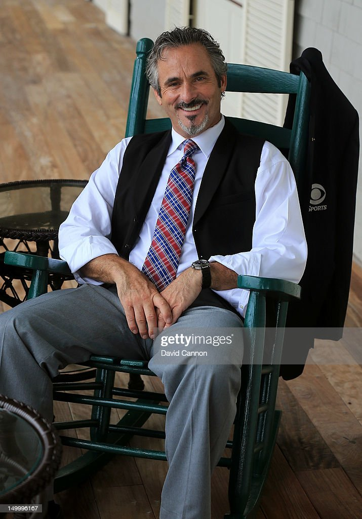 TV personality David Feherty poses during a practice round of the 94th PGA Championship at the Ocean Course on August 8 2012 in Kiawah Island South...