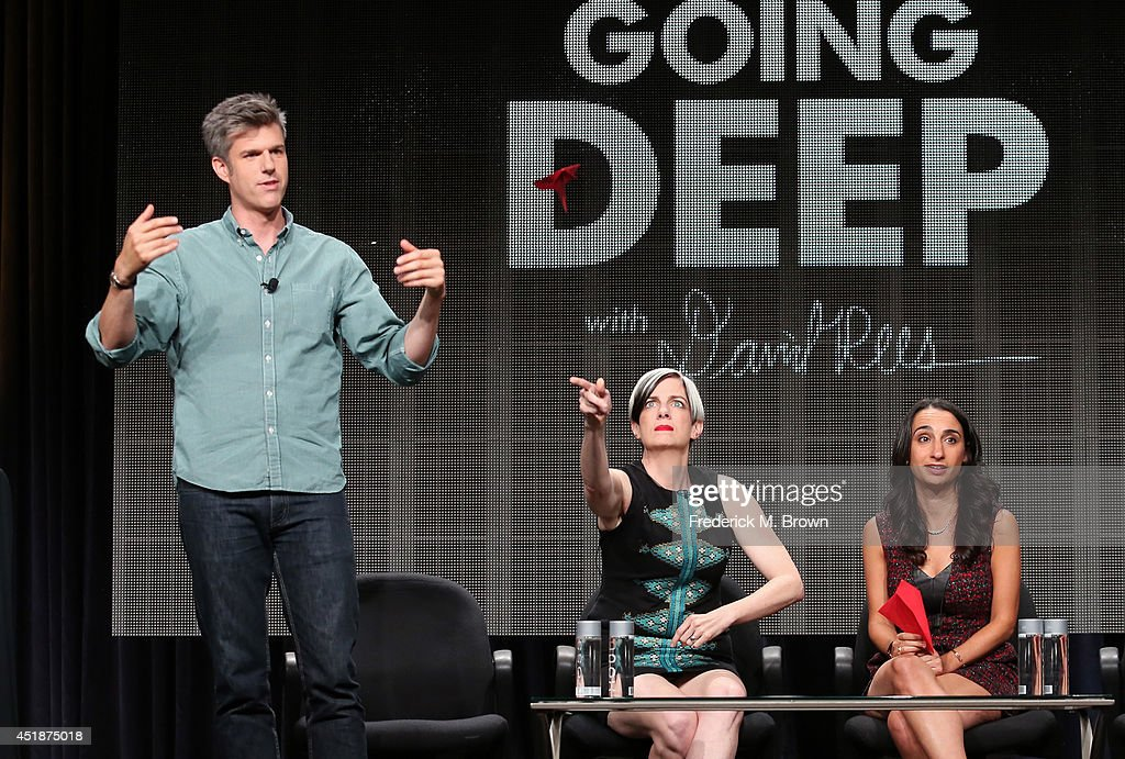 TV personality David Rees, executive producers Christine Connor and Jo Honig speak onstage at the 'Going Deep with David Rees' panel during the National Geographic Channels portion of the 2014 Summer Television Critics Association at The Beverly Hilton Hotel on July 8, 2014 in Beverly Hills, California.