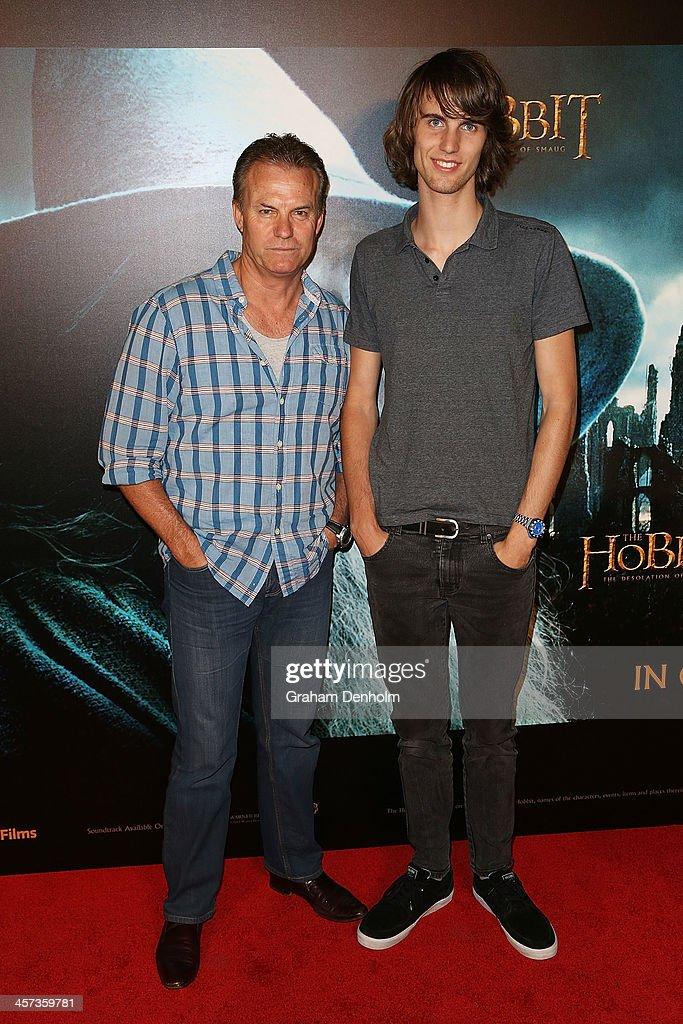 TV personality David Reyne (L) and son Hunter Reyne arrive at the premiere of 'The Hobbit: Demolition Of Smaug' at Village Cinemas Rivoli on December 17, 2013 in Melbourne, Australia.