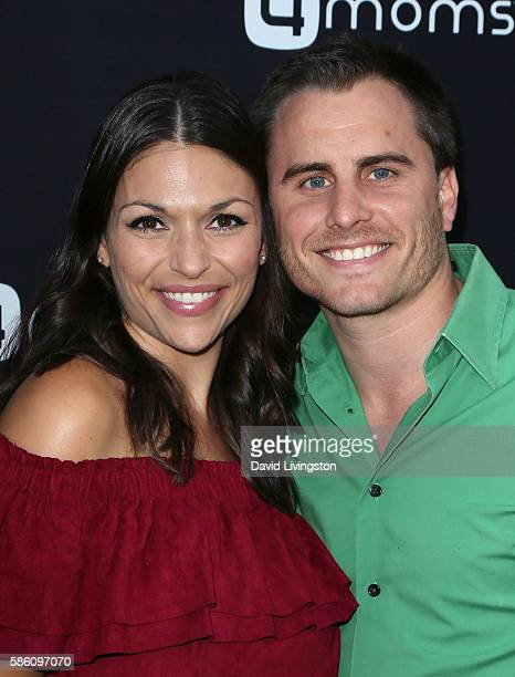 TV personality DeAnna Pappas and husband Stephen Stagliano attend 4moms launch of a selfinstalling car seat at Petersen Automotive Museum on August 4...